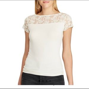 Chaps Lace-trim Jersey Tee